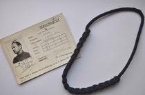 Opbouwdienst legitimatie bewijs en schouderkoord ©Oorlogsleven