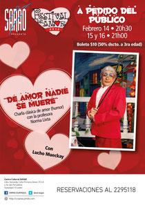 Afiche de Norma Lixta y su clásico monólogo 'De Amor Nadie Se Muere'. Diseño de Eduardo Correa.