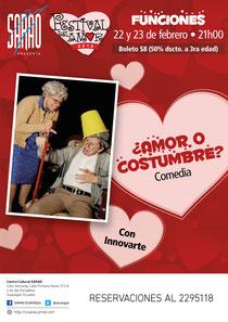 Afiche de ¿Amor o Costumbre? con Innovarte. Diseño de Eduardo Correa.