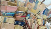 手紡ぎ木綿糸 草木染め手織りの小物