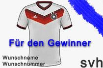 Der Gewinner bekommt ein originales Deutschland Trikot mit Wunschnummer und Wunschname