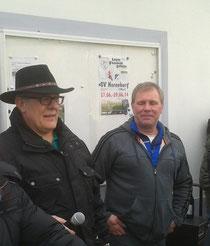 König Klaus I. vom BSV und Vorsitzender Rolf Buddäus (r.) vom SVH beim Grußwort