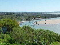 Blick auf den Campingplatz an der Lagune