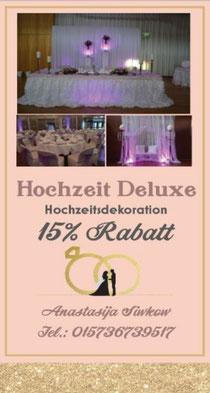 15% Rabatt auf Hochzeitsdekoration!!!            bis einschließlich den 31.03.2020