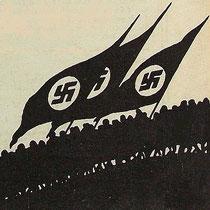 Fahnenaufmarsch der Nationalsozialisten (Historische Grafik, 1933) / Sammlung PRISARD