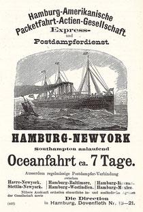 Werbeanzeige von HAPAG (Illustrirte Zeitung, [Leipzig] 1890) / © Sammlung PRISARD