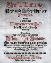 LIB.17.013 Grosser Ludewig, Herr und Beherrscher der Frantzosen, siehe zu, dass von der Hugvenotten Fall, dein Franckreich nicht erzittere! (Franckfurt/Leipzig, 1686) / © Sammlung PRISARD