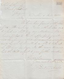AUT.19.002 Geschäftsbrief des Bankhauses La Touche & Co. (Dublin, 1833) / © Sammlung PRISARD