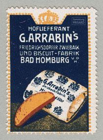 IMA.20.026 Reklamemarke der Zwiebackfabrik Gustav Arrabin (Bad Homburg, um 1910) / © Sammlung PRISARD