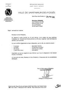 Liste du matériel prêté ou donné par la mairie