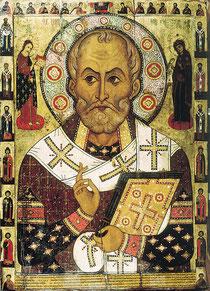 Nikolaus von Myra (russische Ikone von Aleksa Petrov, 1294))