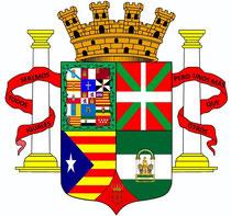 Escudo de la III República. La bandera está por decidir.