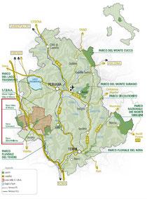 Mappa dei parchi regionali umbri