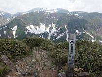 釈迦岳前峰から白山を望む。