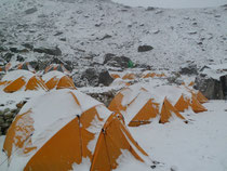 Snowcovered camp in Khare