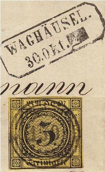 """Badische Marke von 1851 mit Waghäusler Nummerstempel """"150"""" und Rahmenstempel von Waghäusel als Nebenstempel"""
