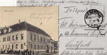 """Feldpostkarte vom Juni 1916 mit dem Gasthaus """"Schwanen"""" und dem Vermerk: """"Hier sind wir untergebracht"""""""