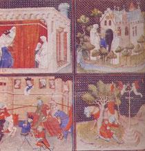 Enluminure : l'éducation de Lancelot par Viviane, puis Lancelot au combat