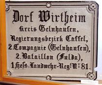 Historisches Dorfschild von Wirtheim
