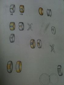Um sich ein Schmuckstück besser vorstellen zu können, fertige ich Ihnen Skizzen an, aus denen Sie auswählen können.