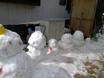 自宅で雪だるま