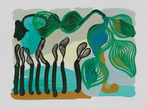 Marielle Paul, Les arbres masqués, septembre 2007, gouache sur papier. © Collection artothèque du musée des beaux-arts de Brest