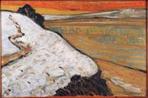 Maxime Maufra, Pont-Aven, ciel rouge,huile sur carton marouflé sur bois, 1892, musée des beaux-arts de Brest.