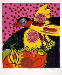 Corneille, L essor de loiseau, 1977, lithographie, 65 x 50 cm