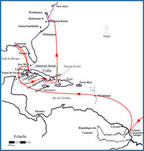 Itinéraire de la Némésis Cuba 1898
