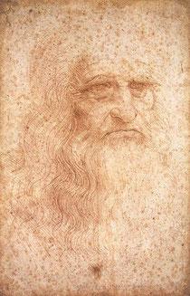 """So genanntes """"Selbstbildnis Leonardo da Vincis"""", um 1512 (Rötelzeichnung, Biblioteca Reale, Turin). Die Urheberschaft ist umstritten. Hans Ost schrieb es 1980 Giuseppe Bossi zu.[1"""