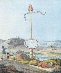 Freiheitsbaum an der Grenze zu Sierck. Im Hintergrund Schengen und der Stromberg