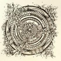 ゼンタングルで曼荼羅画