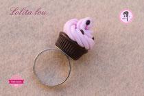 Bague Cupcake Chocolat/Fraise et Pépites