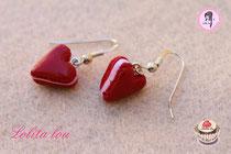 Boucles d'oreilles Coeur Rouge Amour Pailleté