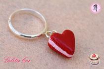Bague Coeur Rouge Amour Pailleté