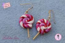 Boucles d'oreilles Sucette Lollipop rosée du matin