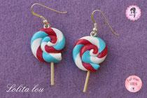 Boucles d'oreilles Sucette Lollipop Farandole d'Arlequin