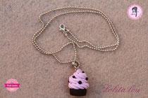 Collier Cupcake Chocolat/Fraise et Pépites