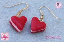 Boucles d'oreilles Coeur Rouge Amour Rubis