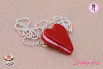 Collier Coeur Rouge Amour Pailleté