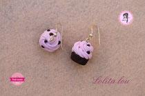 Boucles d'oreilles Cupcake Chocolat/Fraise et Pépites