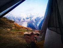 Letzte Nacht im Zelt mit Sicht auf den Mont Blanc