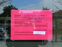 Cartel informativo sobre el cierre (distrito19.org)