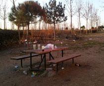 """Restos de un """"botellón"""" en Valderrivas (Imagen de El Mundo)"""