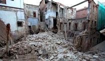 Ruinas del edificio hundido en Tarragona la madrugada del jueves. / JOSEP LLUÍS SELLART