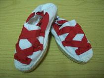Alpargata blanca cinta roja
