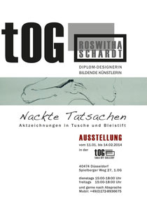 """Ausstellung, tOG, take OFF GALLERY, Roswitha Schardt, """"Nackte Tatsachen"""", Aktzeichnungen, Moderne Kunst,"""