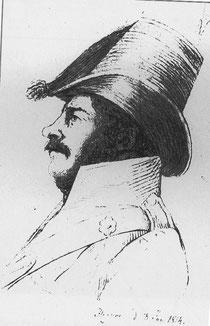 Zeichnung von Riedl vom Lützower Oberjäger und Battalions-Chirurgus August Albrecht Meckel v. Hemsbach