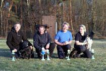 Matthias Nies mit Frini, Michael Pusch mit Lady, Peter Fajerski mit Elli, Tanja Adolph mit Eddie (v.l.)