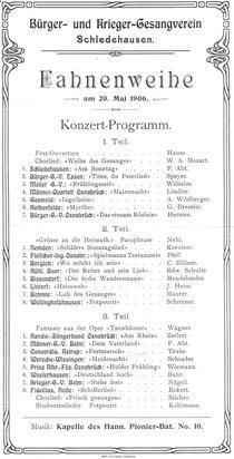Konzertprogramm zur Fahnenweihe aus dem Jahre 1906